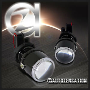 2x 12v White Clear Projector Bumper Fog Lights Driving Lamps Kit W Brackets