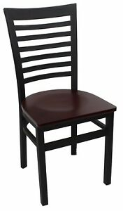 New Gladiator Full Ladder Back Restaurant Chair With Mahogany Wood Seat