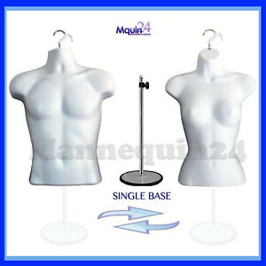 Male Female Torso Dress Form Mannequin Set White 2 Hangers 1 Stand