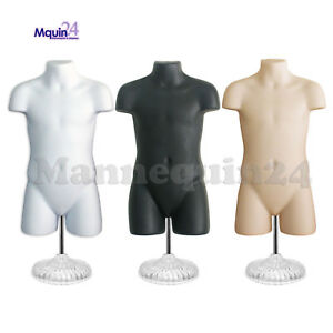 3 Mannequin Child Torsos Set white Flesh Black 3 Stands 3 Hangers Kids Forms