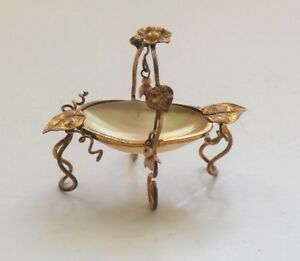 19th C Miniature Mother Of Pearl Ormolu Thimble Holder