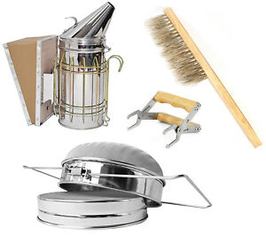 Starter Beekeeping Equipment Kit Bee Smoker Frame Grip Brush Honey Strainer
