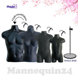 4 Torso Mannequins Male Female Child Toddler Body Dress Forms 4 Hooks 1 Stand