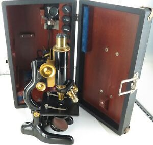 C1915 Bausch Lomb Optical Co Usa Monocular Microscope Case Light Etc