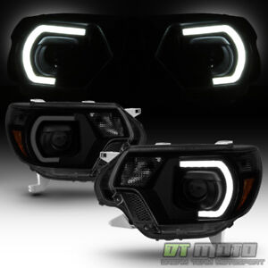 For Black Smoke Mono Eye 2012 2015 Toyota Tacoma Led Drl Projector Headlights
