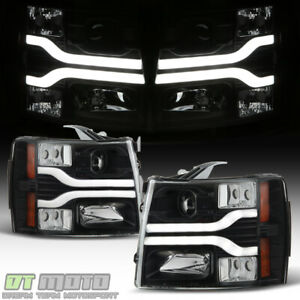 Black 2007 2013 Chevy Silverado 1500 Led Drl Tube Projector Headlights Headlamps