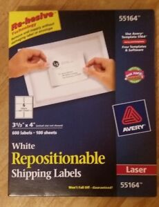 Avery 55164 Laser White Shipping Labels 3 1 3 X 4 Four Boxes 2400 Labels Nib