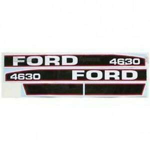 New Ford 4630 Red black Hood Decal Set