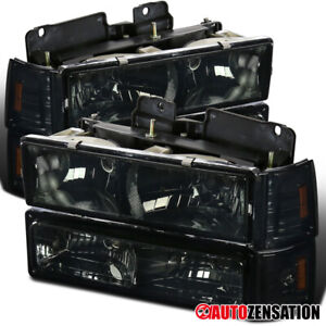 For 94 98 Gmc C10 Sierra Yukon Suburban Smoke Headlights corner bumper Lamps