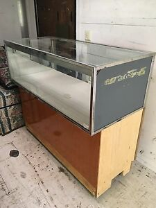 Retail Glass Display Showcase Case On Wheels Great For Flea Markets Used