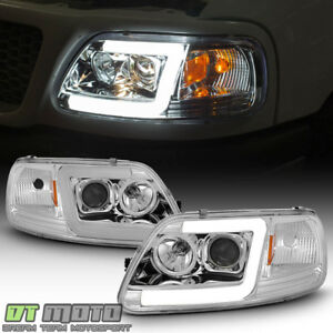 New 1997 2003 Ford F150 97 02 Expedition Led Tube Projector Headlights Headlamps