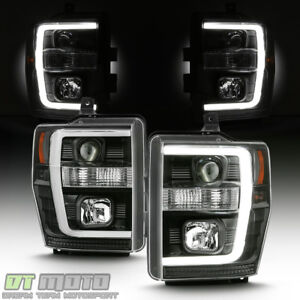 Black 2008 2009 2010 Ford F250 F350 F450 Superduty Led Tube Projector Headlights