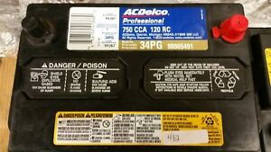 Ac delco Professional Series Battery 34pg 88865491 750cca 120rc