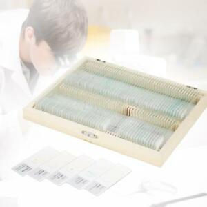 100pcs Glass Prepared Microscope Slides W Box For Biological Basic Science W4f8