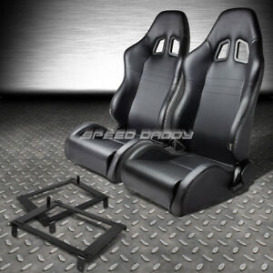 2x Carbon Look Pvc Leather Racing Seat Low Mount Bracket For 02 06 Dc5 Acura Rsx