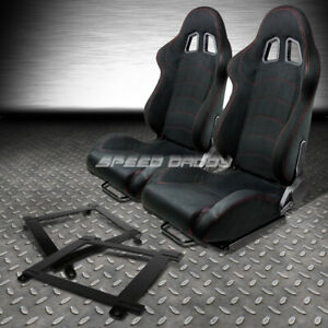 2 X Black Suede Reclinable Racing Seat Low Mount Bracket For 93 02 Chevy Camaro