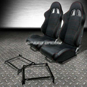 2 X Black Suede Reclinable Racing Seats Bracket For 89 98 Nissan 240sx S13 S14