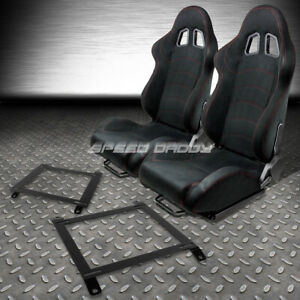 2 X Black Suede Reclinable Racing Seats low Mount Bracket For 89 97 Miata Mx5