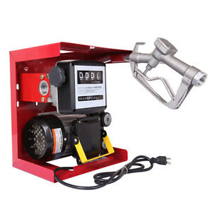 Electric Oil Transfer Pump Diesel Fuel Manual Nozzle Hose With Meter 110v