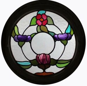 Stunning Floral Art Nouveau Round Stained Glass Window Original Wood Frame