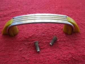 Vintage Art Deco Chrome With Yellow Lines Cabinet Door Pull Handle
