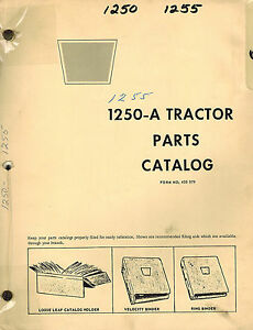 Oliver Cockshutt 1250 a 1255 Tractor Parts Manual 433079 1968