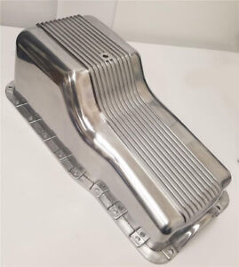 62 82 Sbf Ford Polished Aluminum Oil Pan Retro Finned Front Sump 260 289 302