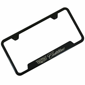 Cadillac New Logo Notched Black Stainless Steel License Plate Frame