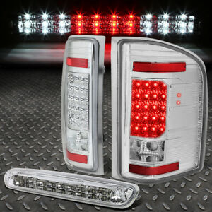 For 07 14 Silverado Sierra Led Tail Light Dual Row Third Brake Cargo Lamp Chrome