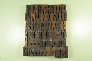 French Antique Letterpress Wood Type Blocks 1 1 4 Inch Uppercase Lowercase