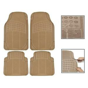 Four Season Car Floor Mats Semi Custom Fit Heavy Duty Trimmable Tan Beige