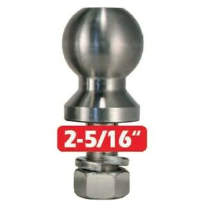 Trimax 2 5 16 Stainless Trailer Hitch Tow Ball 1 Shank X 2 5 Receiver 10k Lbs