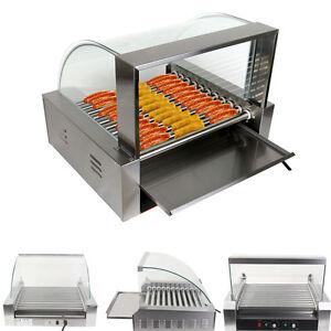 Commercial 30 Hotdog 11 Roller Grill Cooker Grilling Machine W Cover Ce New