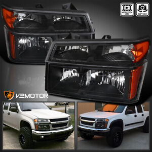 For 2004 2012 Chevy Colorado Gmc Canyon Black Headlights bumper Corner Lamps 4pc