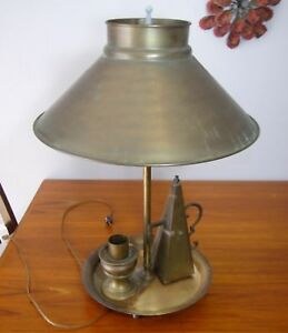 Solid Brass Table Lamp Shade Candle Holder Pyramid Snuffer Atomic Table Desk