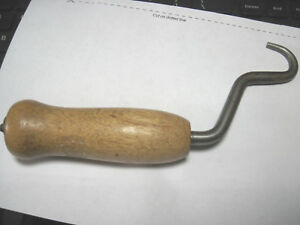 Antique Cast Iron Farm Tool With Wooden Handle Ice Tool Hook Claw