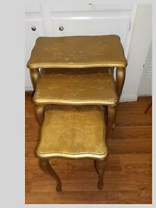 A Set Of Three Vintage Gold Florentine Stacking Nesting Side Tables