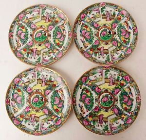 Set Of Four 4 A C F Chinese Famille Rose Medallion 8 Plates