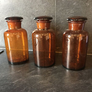 32244 Antique Glass Apothecary Jar Pharmacy Bottle Amber Brown Set Of 3 French