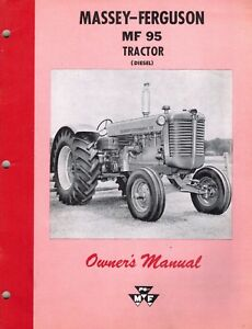 Massey Ferguson Vintage Mf 95 Tractors Owner s Manual Mf new