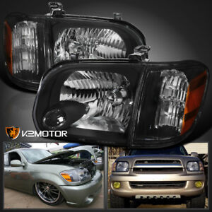 For 2005 2006 Toyota Tundra 05 07 Sequoia Headlights Corner Signal Lamps Black