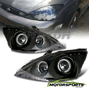 led Halo 2000 2001 2002 2003 2004 Ford Focus Projector Black Headlights Pair