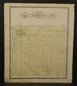 Missouri Macon County Map La Plata Or Johnston Township 1897 2 Sided L20 59
