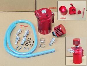 Universal Red Aluminum Engine Oil Catch Reservoir Can Tank W Filter Breather