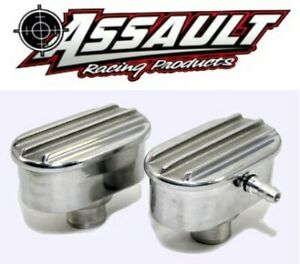 Retro Finned Aluminum Valve Cover Breather Pcv Set Polished With Raised Fins