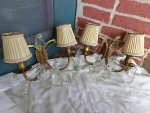 Antique Gold Gilt Wall Sconce Crystal Prisms Chandelier Light Petite Shade Set