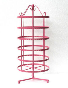 288 Holes Pink Color Rotating Earrings Display Stand Rack Holder