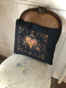 Stunning Antique Roses Heart Swag Shabby Chic Decor Petit Point Baby Pillow