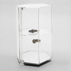 Revolving Locking Rotating Acrlic Jewelry Display Countertop Product Showcase