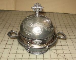Vintage James Tufts 2027 Silverplate 6 Covered Dish Butter Good Condition